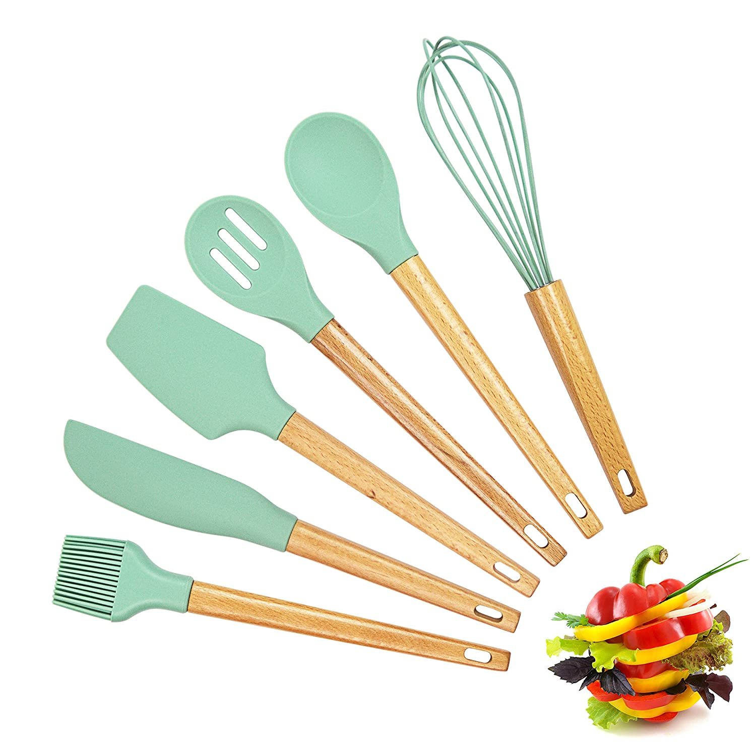Premium Baking Utensils Cooking Tools and Baking Accessories Silicone Spatula Set with Wood Handle Hygienic Quality Spatula Set of 6 Pieces Including Egg Whisk and Basting Brush XTRA Shop