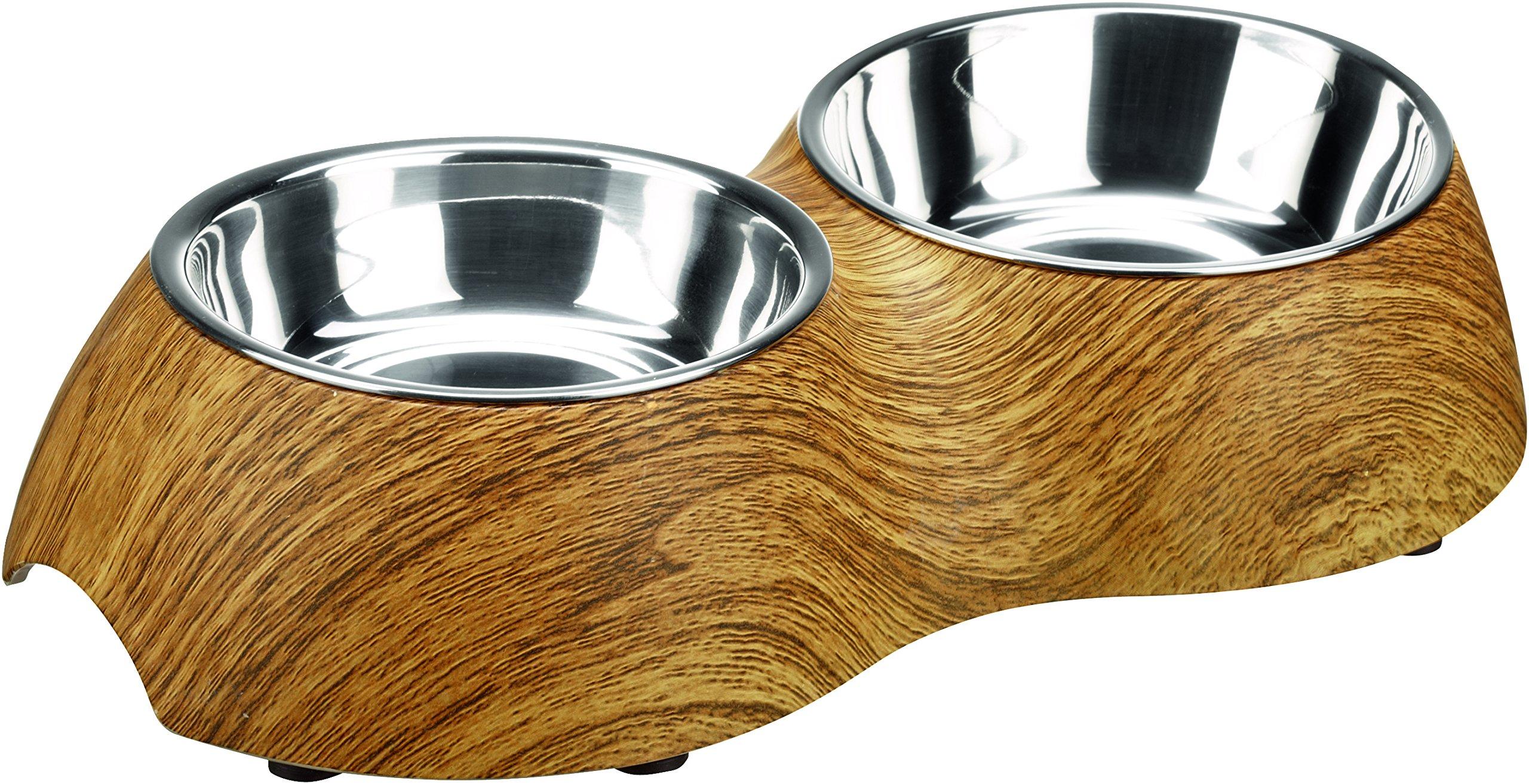 Hunter Double Feeding Woody Bowl, 350ml, Oak