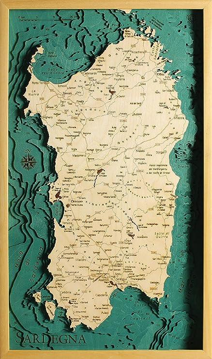 Cartina Sardegna Formato A4.Quadro In Legno Mappa Sardegna Laser Cut Geckoart 100 Made In Italy Amazon It Casa E Cucina