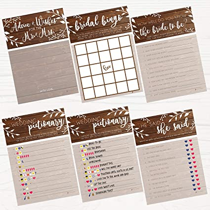 Bridal Shower Games | Rustic | 5 Games | 25 Sheets Each | Includes Bridle  Bingo, Do You Know the Bride, Advice for the Mr  & Mrs, Emoticon Guess, He