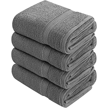 Utopia Towels Cotton Large Hand Towels (4 Pack, Dark Grey - 16 x 28 Inches) - Multipurpose Bathroom Towel set for Hand, Face, Gym and Spa