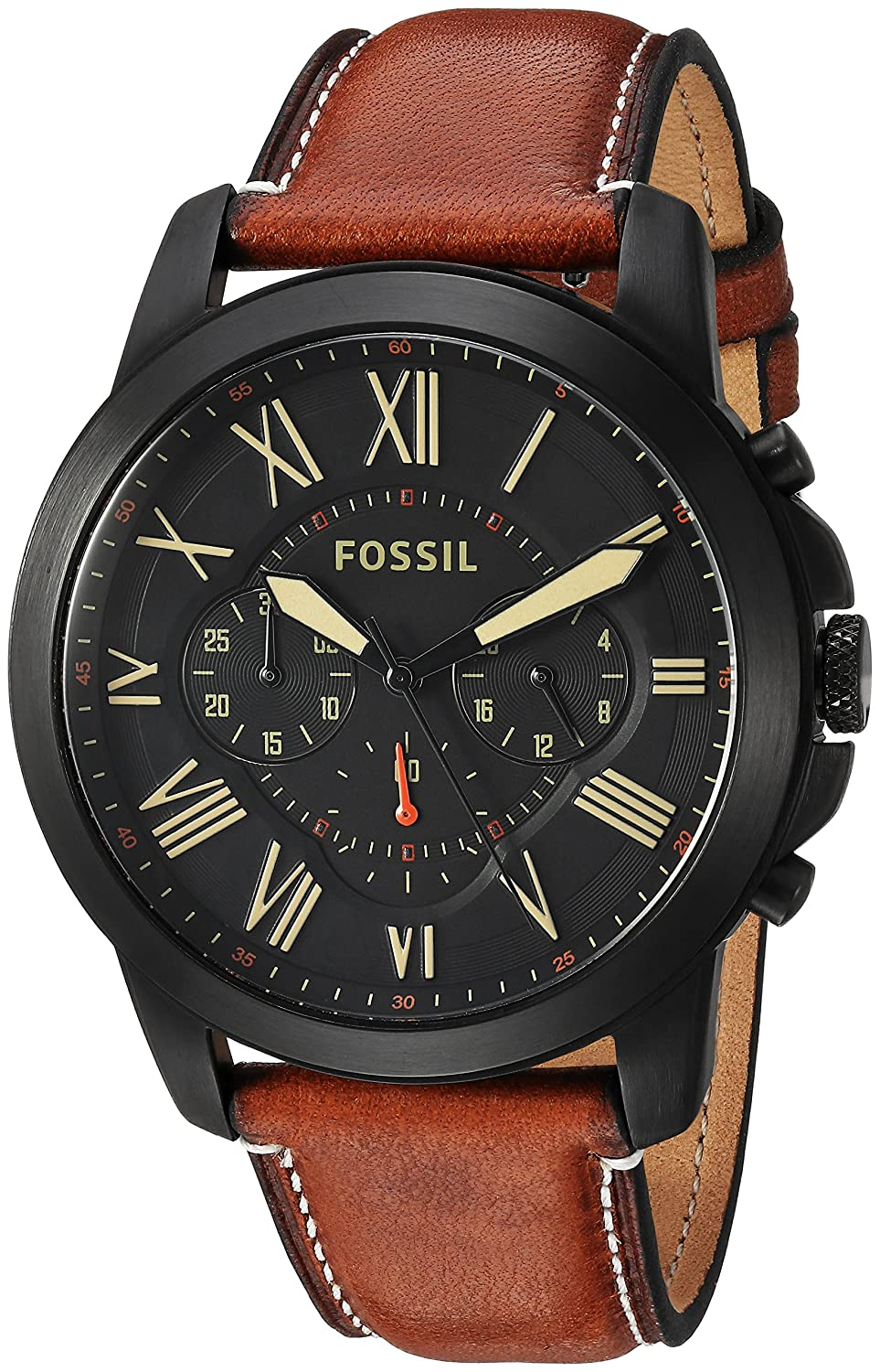 Fossil mens fs5241 grant chronograph luggage leather watch new free shipping ebay for Leather watch for men