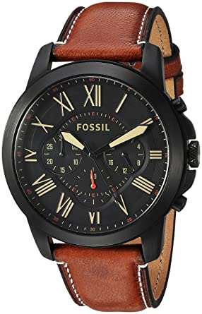 Amazon.com: Fossil Mens FS5241 Grant Chronograph Luggage Leather ...