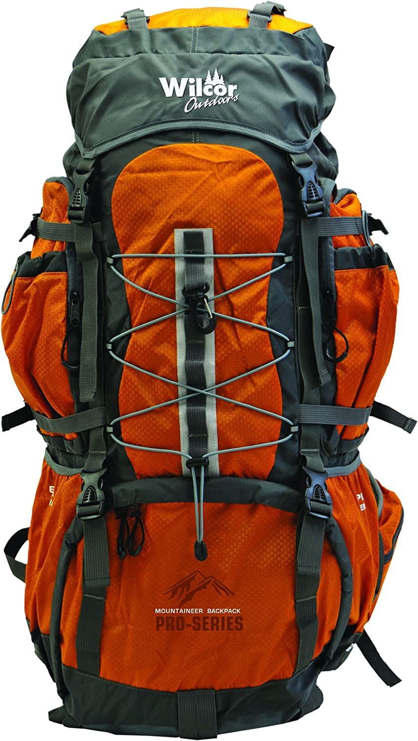 Hiking BackPack Mountaineer 60-Liter Pro Pack 11 Pockets, Cover, Loops Water Bladder Ready