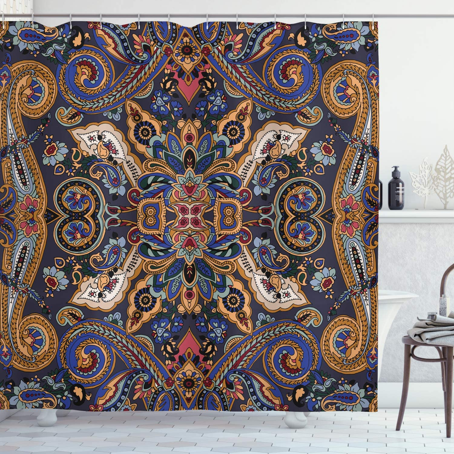 Ambesonne Paisley Shower Curtain, Historical Moroccan Florets with Slavic Effects Heritage Design, Cloth Fabric Bathroom Decor Set with Hooks, 75
