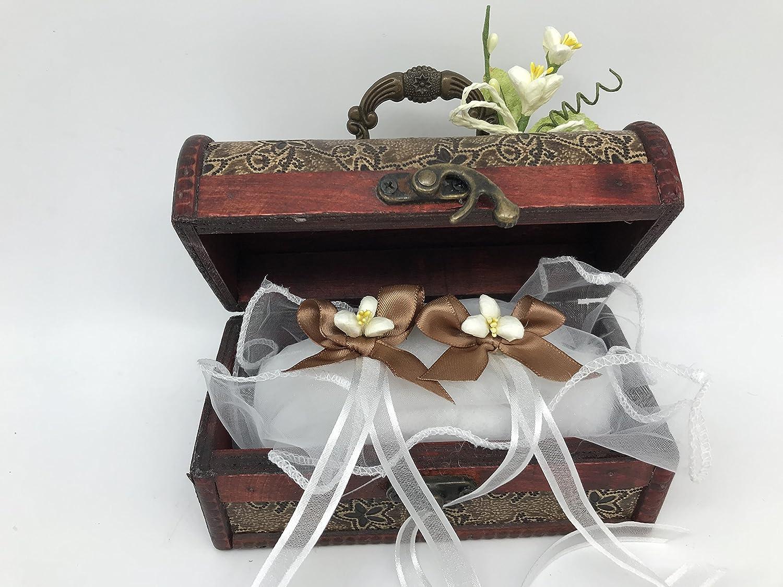 Cofre cojin anillos boda original lazos marron trazo flor ...