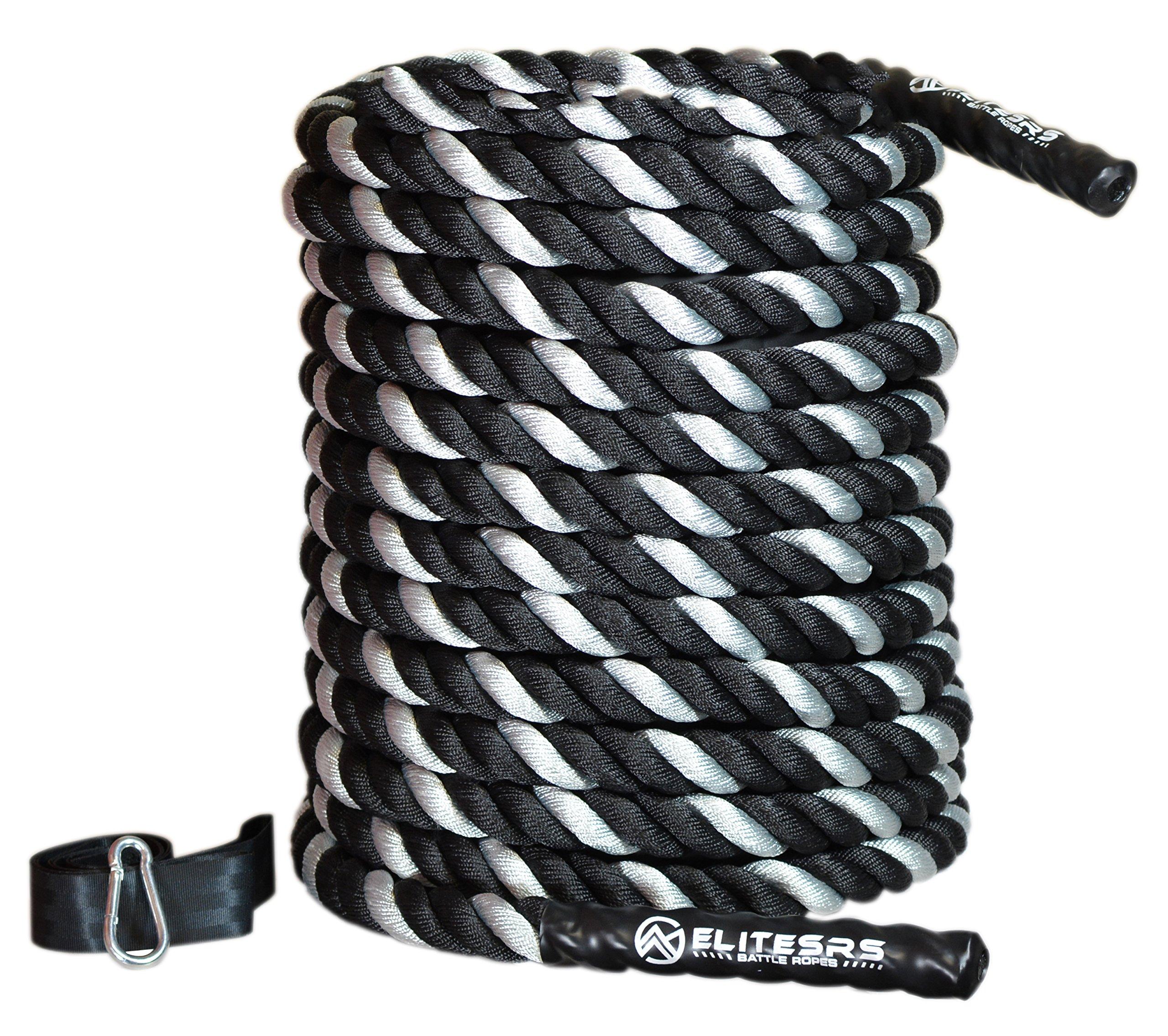 EliteSRS 40ft Battle Rope Kit 2'' Fitness Workout - Sleeve - Anchor Straps (Silver) by EliteSRS