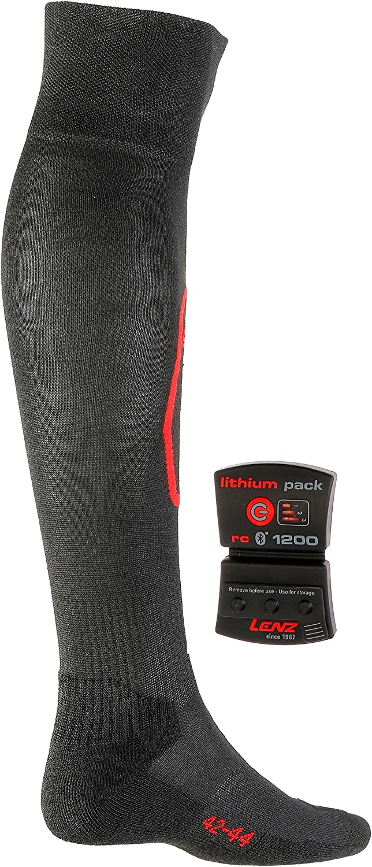 EU: 39-41 UK 5,5-7 Battery Pack 1200 + Heat Pack 1 Set Black Lenz Heat Socks