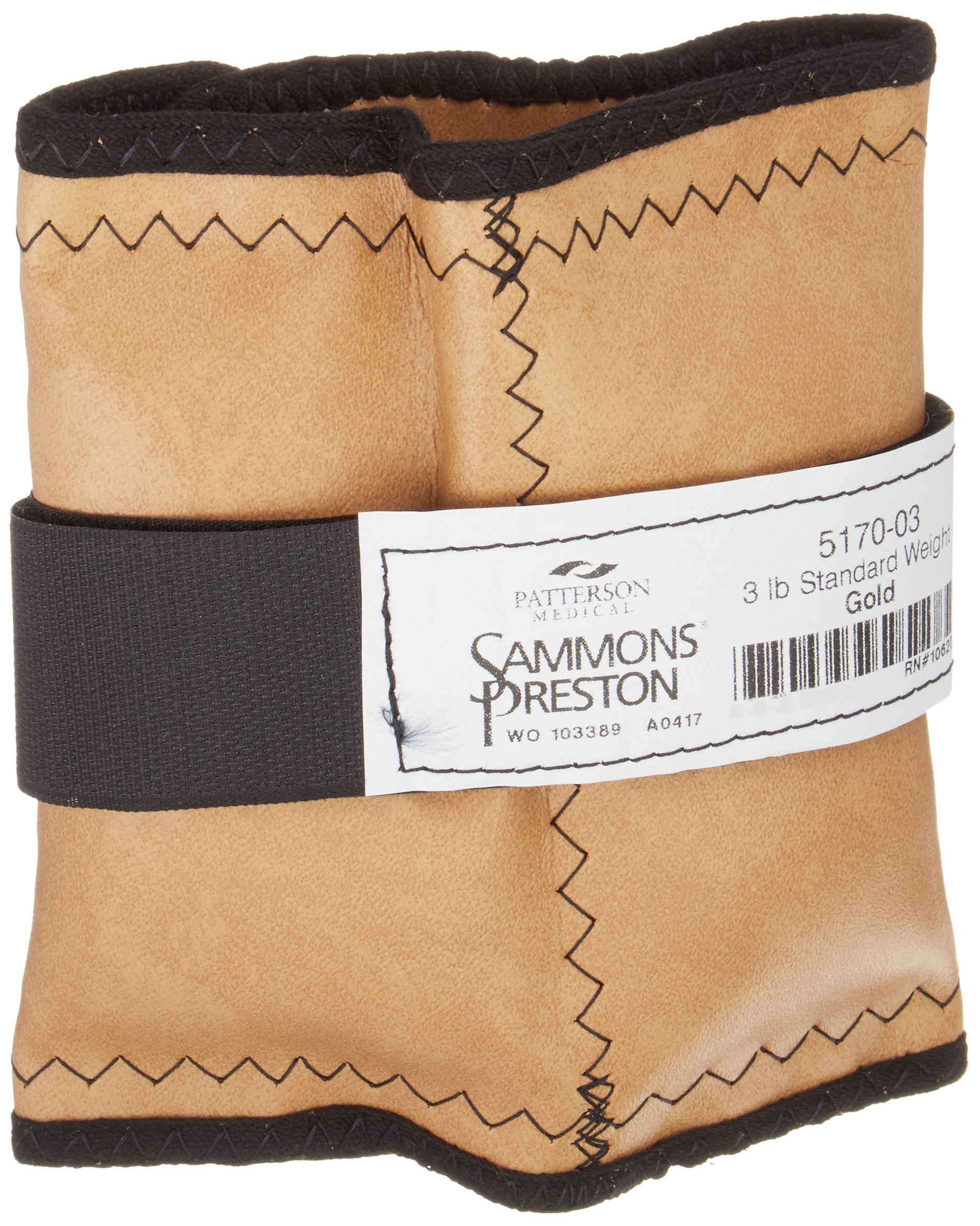 Sammons Preston Cuff Weight, 3 lb, Gold, Strap & D-Ring Closure, Grommet for Easy Hanging, Steel Ankle & Wrist Weights are Lead Free, Exercise Tool for Strength Building & Injury Rehab by Sammons Preston (Image #1)