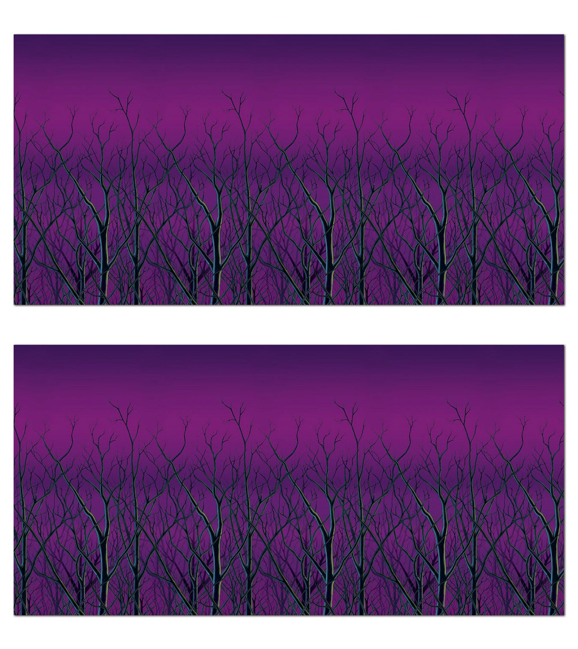 Beistle S00987AZ2, 2 Piece Spooky Forest Treetops Backdrops, 4' x 30' by Beistle