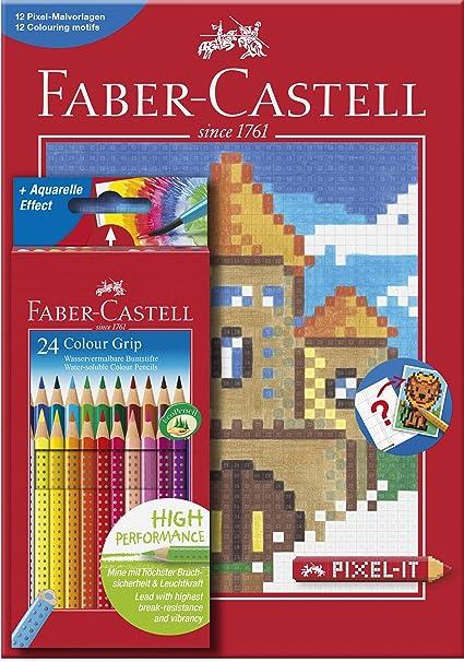 Faber-Castell - Estuche con 24 lápices de color grip y cuaderno Pixel-IT de tamaño A4 con 12 plantillas para colorear (201436): Amazon.es: Oficina y papelería