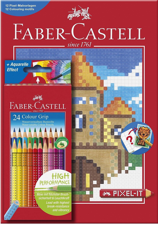 Faber-Castell - Estuche con 24 lápices de color grip y cuaderno ...