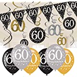 60th Birthday Decorations Black and Gold: 60th Birthday Bunting, Balloons, Hanging Decorations