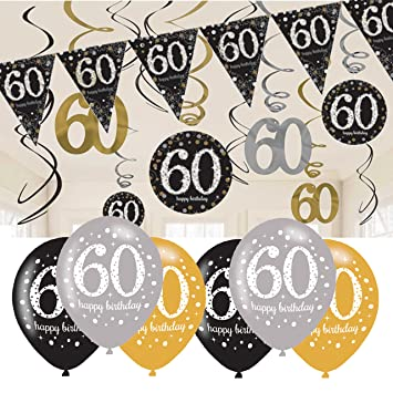 60th Birthday Decorations Black And Gold Bunting Balloons Hanging