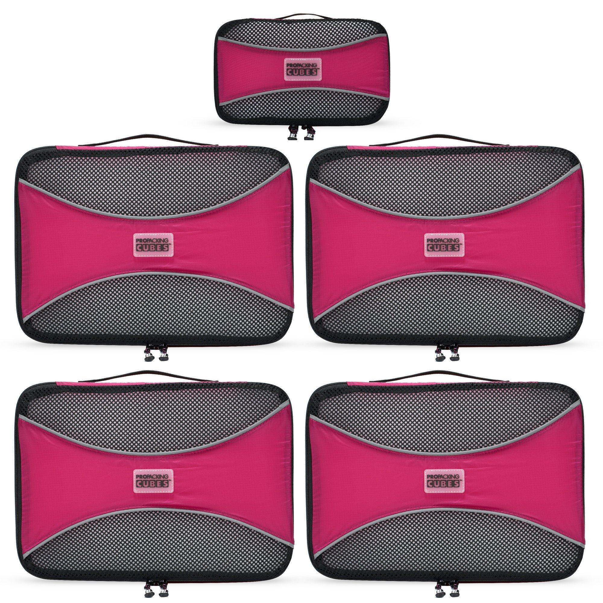 PRO Packing Cubes | 5 Pc Value Set | Organizers & Compression Travel Cube System for Backpacking & Luggage (Hot Pink)