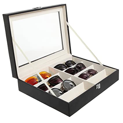 Ordinaire Deluxe 8 Slot Sunglasses / Eyeglasses / Reading Glasses Black Display Case  W/ Clear Lid
