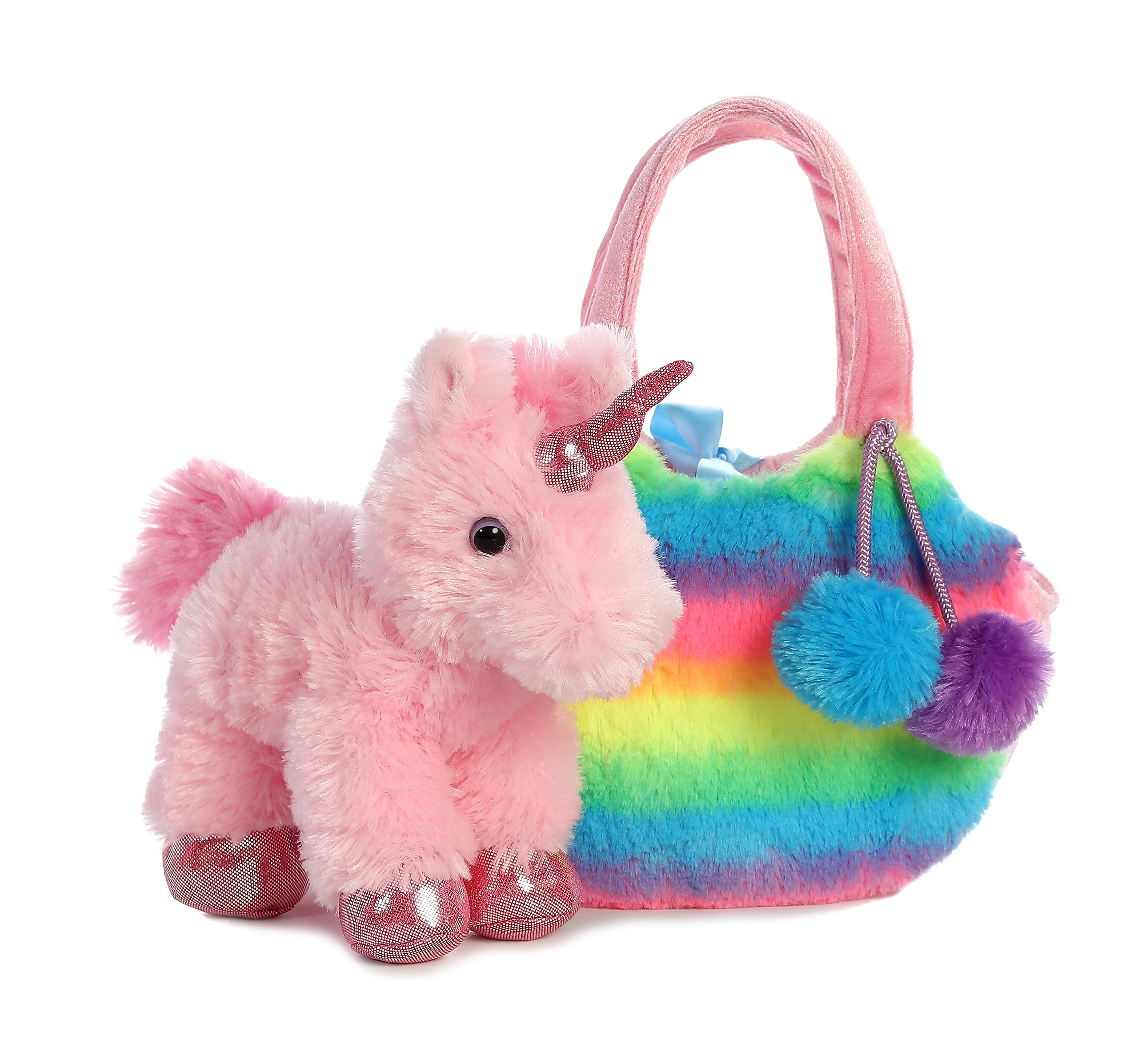 Aurora World Fancy Pals Pet Unicorn Carrier Plush, Rainbow 5