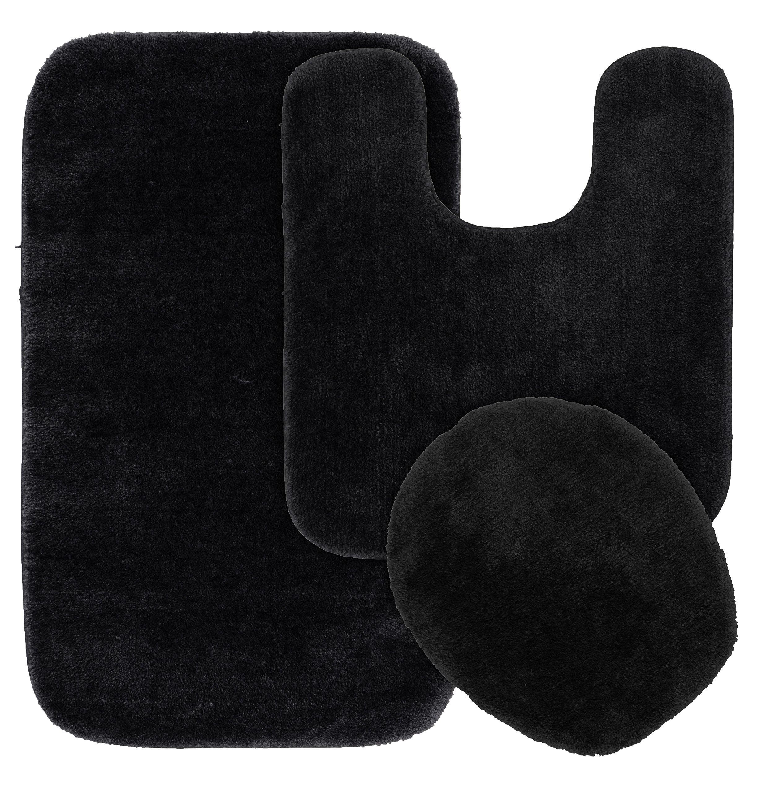 Garland Rug BA010W3P02J9 Traditional Bath Rug Set, 3-Piece Set, Black