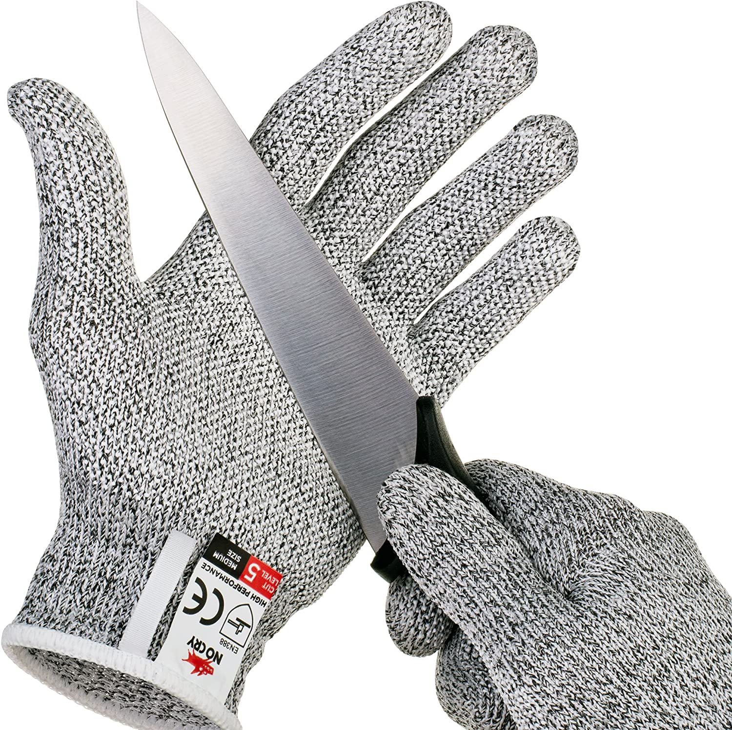 NoCry Cut Resistant Gloves with Grip Dots - High Performance Level 5 Protection, Food Grade. Size Large, Free Ebook Included! - -