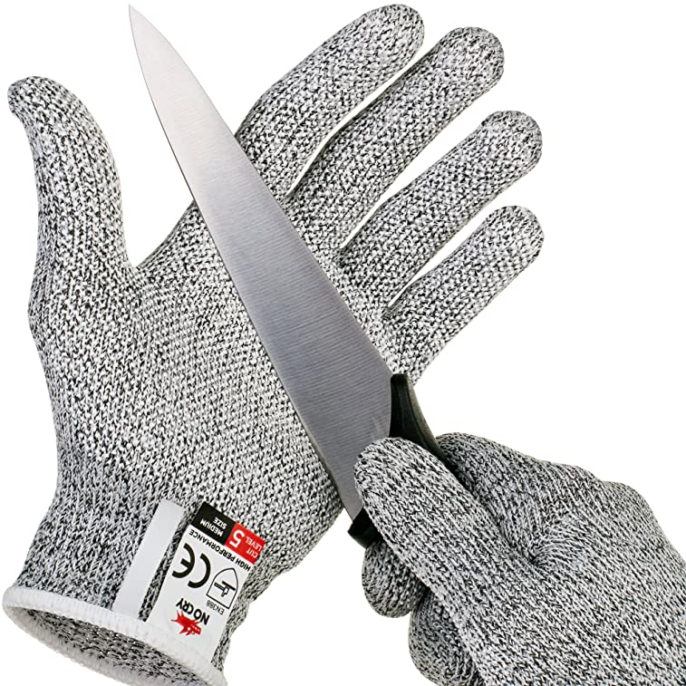 NoCry Cut Resistant Gloves with Grip Dots - High Performance Level 5 Protection, Food Grade. Size Extra Large, Free Ebook Included!