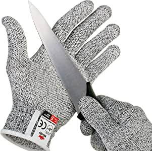 NoCry Cut Resistant Gloves with Secure-Grip Microdots and Level 5 Cut Protection. Comfort-Fit. Food Grade, Size Medium. Includes Free eCookbook!