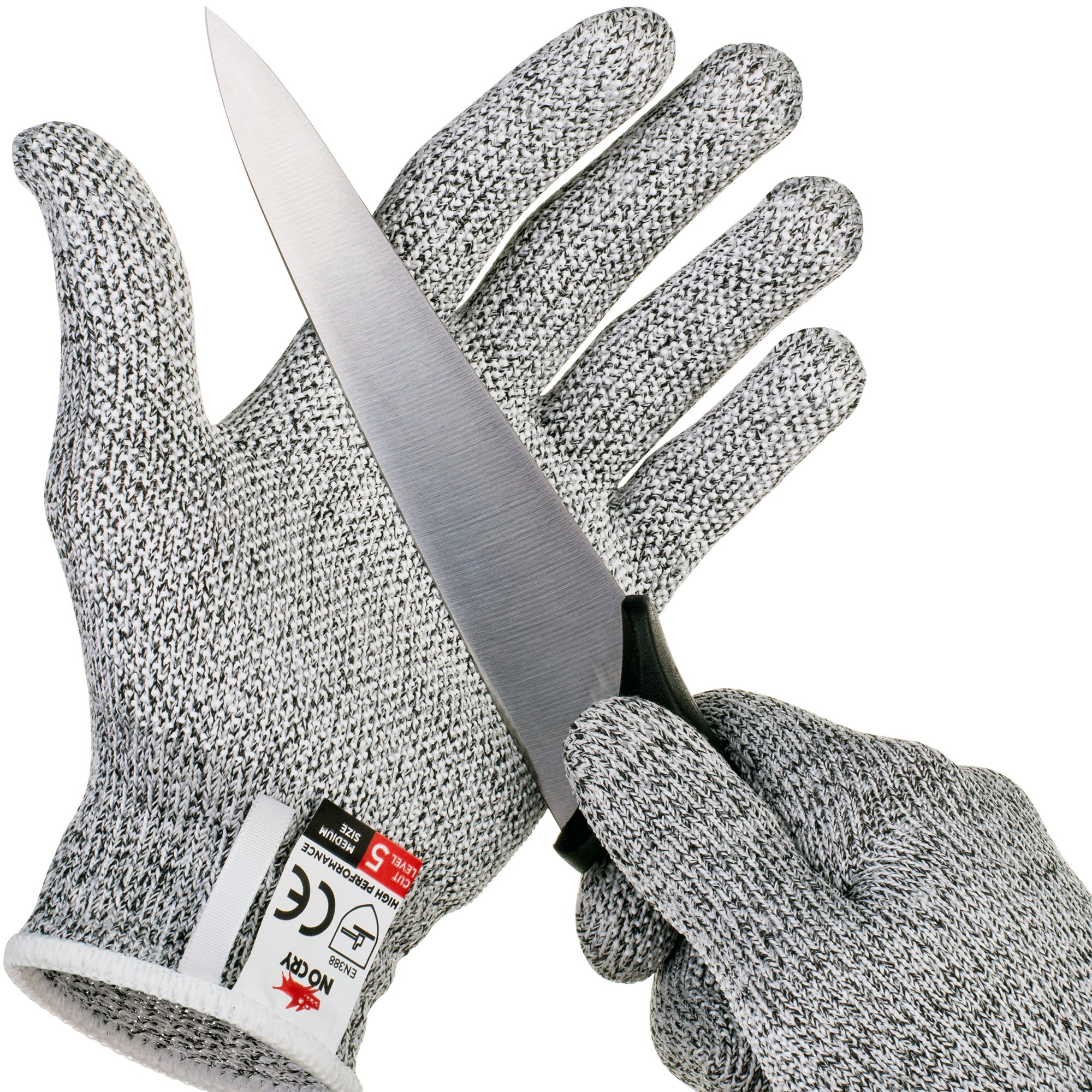 NoCry Cut Resistant Gloves with Grip Dots - High Performance Level 5 Protection, Food Grade. Size Large, Free Ebook Included! by NoCry (Image #1)
