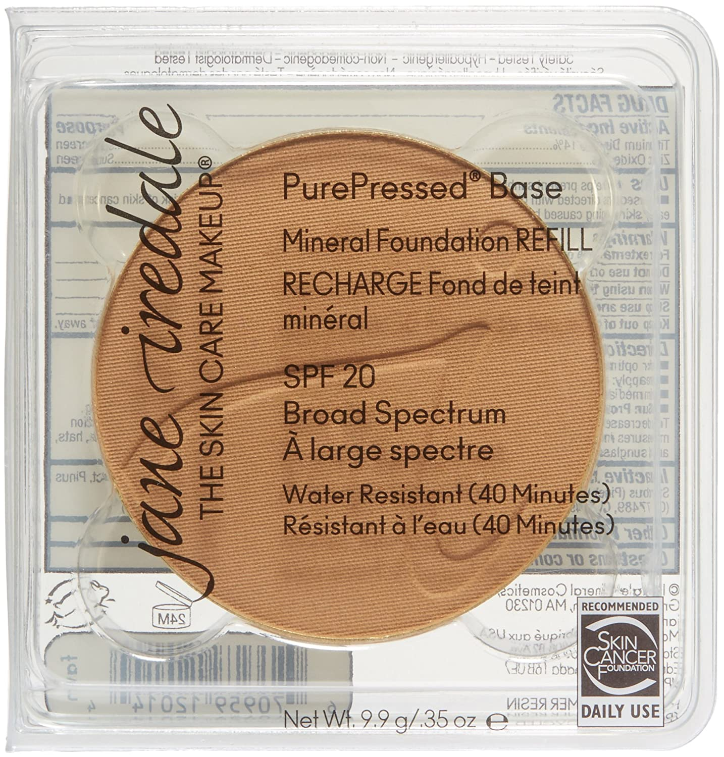 Jane Iredale PurePressed Base SPF 20 Refill, Golden Glow 9.9 g Iredale Mineral Cosmetics 12818E
