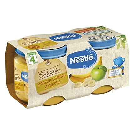 NESTLÉ SELECCIÓN tarrito de puré de fruta, variedad Manzana Golden y Plátano, para bebés