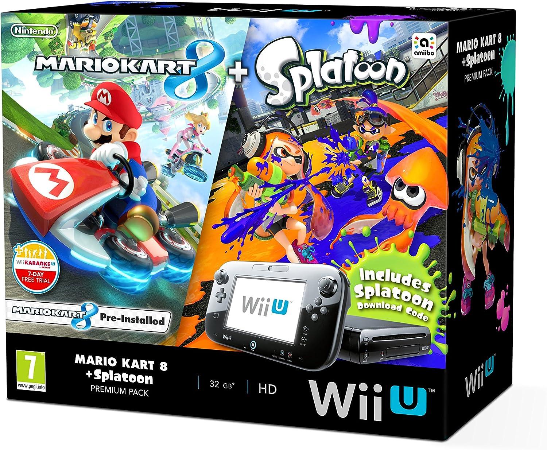 Nintendo Wii U 32gb Mario Kart 8 And Splatoon Premium Pack Black