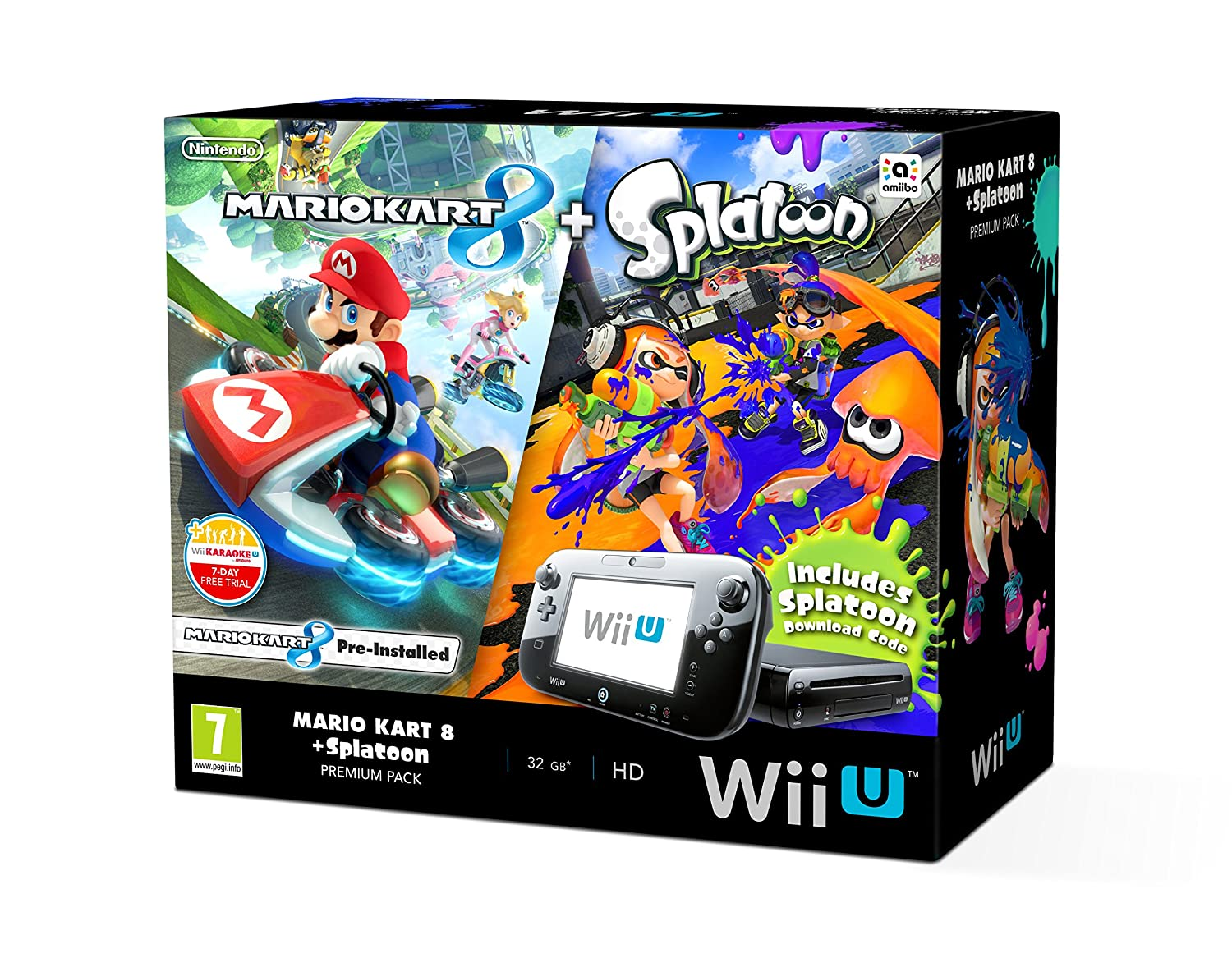 b5f2348b24b Nintendo Wii U 32GB Mario Kart 8 and Splatoon Premium Pack - Black:  Amazon.co.uk: PC & Video Games