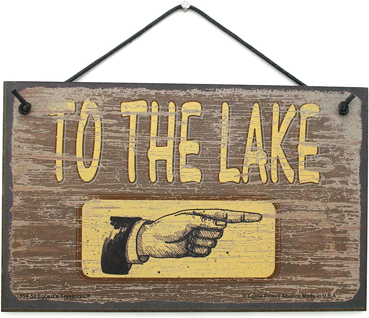 To Lake   hand pointing wood sign Hand made in USA