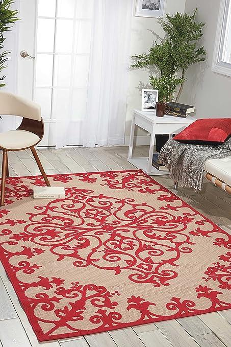 Amazon.com: Nourison Aloha (ALH12) Red Rectangle Area Rug, 7-Feet 10 ...