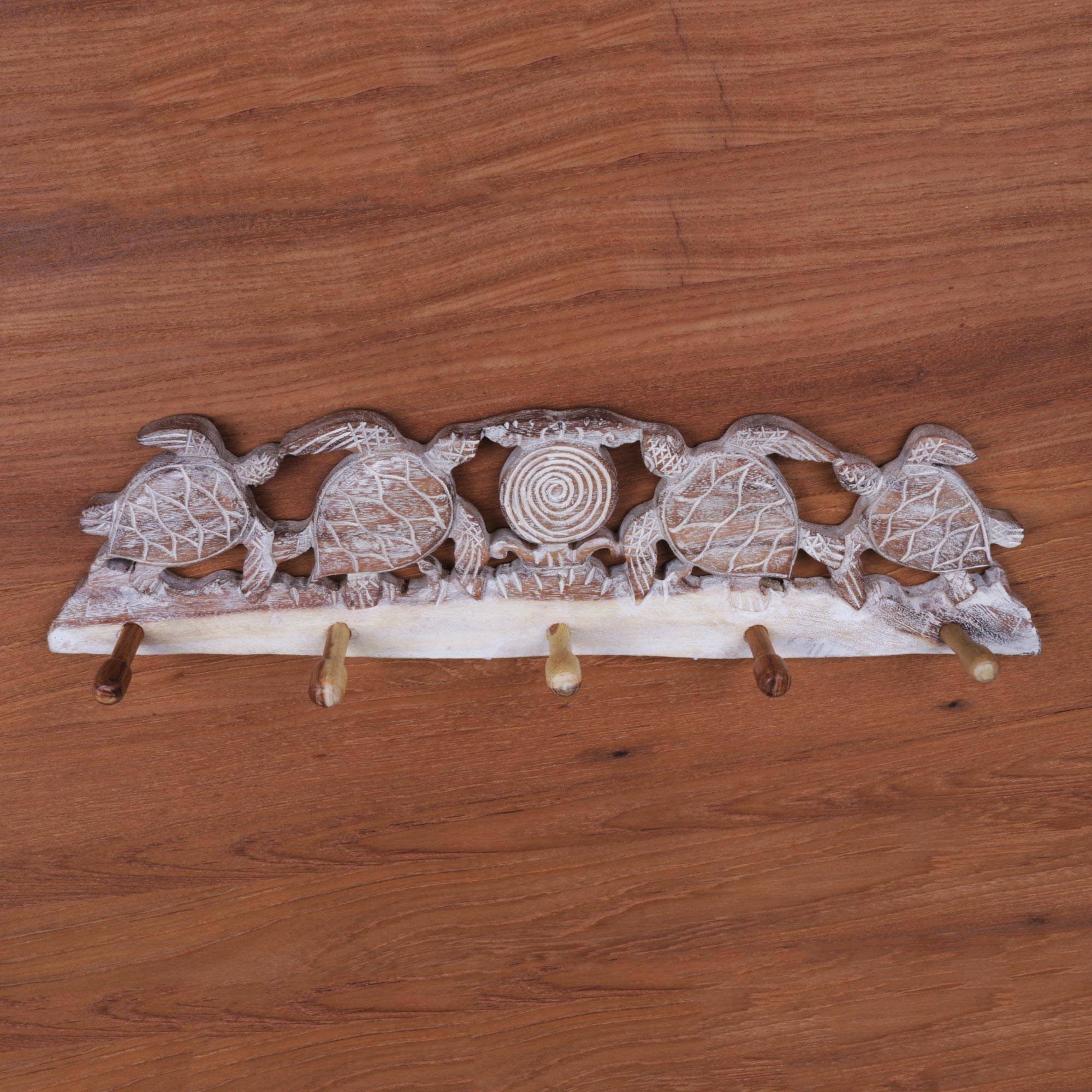 NOVICA Animal Themed Wood Wall Mounted Coat Hanger, Brown and White, Turtle Bay Beach' by NOVICA (Image #2)