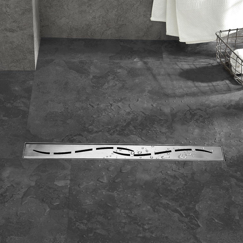 Caniveau d/écoulement pour Douche au Sol Neu.Haus Motif Vagues Caniveau de Douche en Acier Inoxydable Extra Plat 90 x 7 cm /® Passoire au Design Moderne