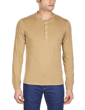 a50caecd6d2c Freecultr Men's Henley T-Shirt (8903845112919_Alexander-White  Buttons_X-Large_Khaki)