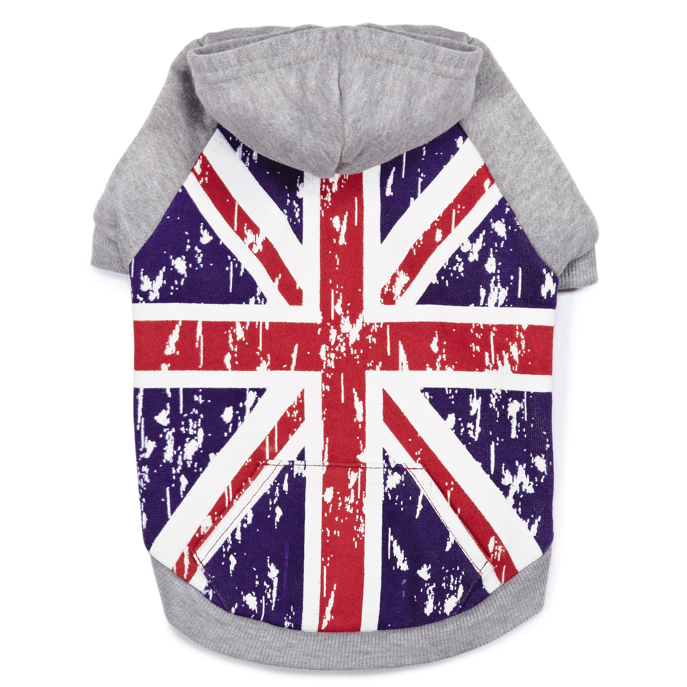 Zack & Zoey Distressed British Flag Hoodie for Dogs, Small/Medium by Zack & Zoey
