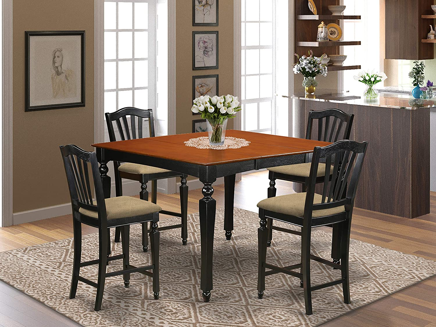 Amazon Com 5 Pc Counter Height Set Square Gathering Table And 4 Counter Height Chairs Furniture Decor