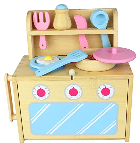 Amazon Com Diggin Bamboo Box Kitchen Set Toys Games