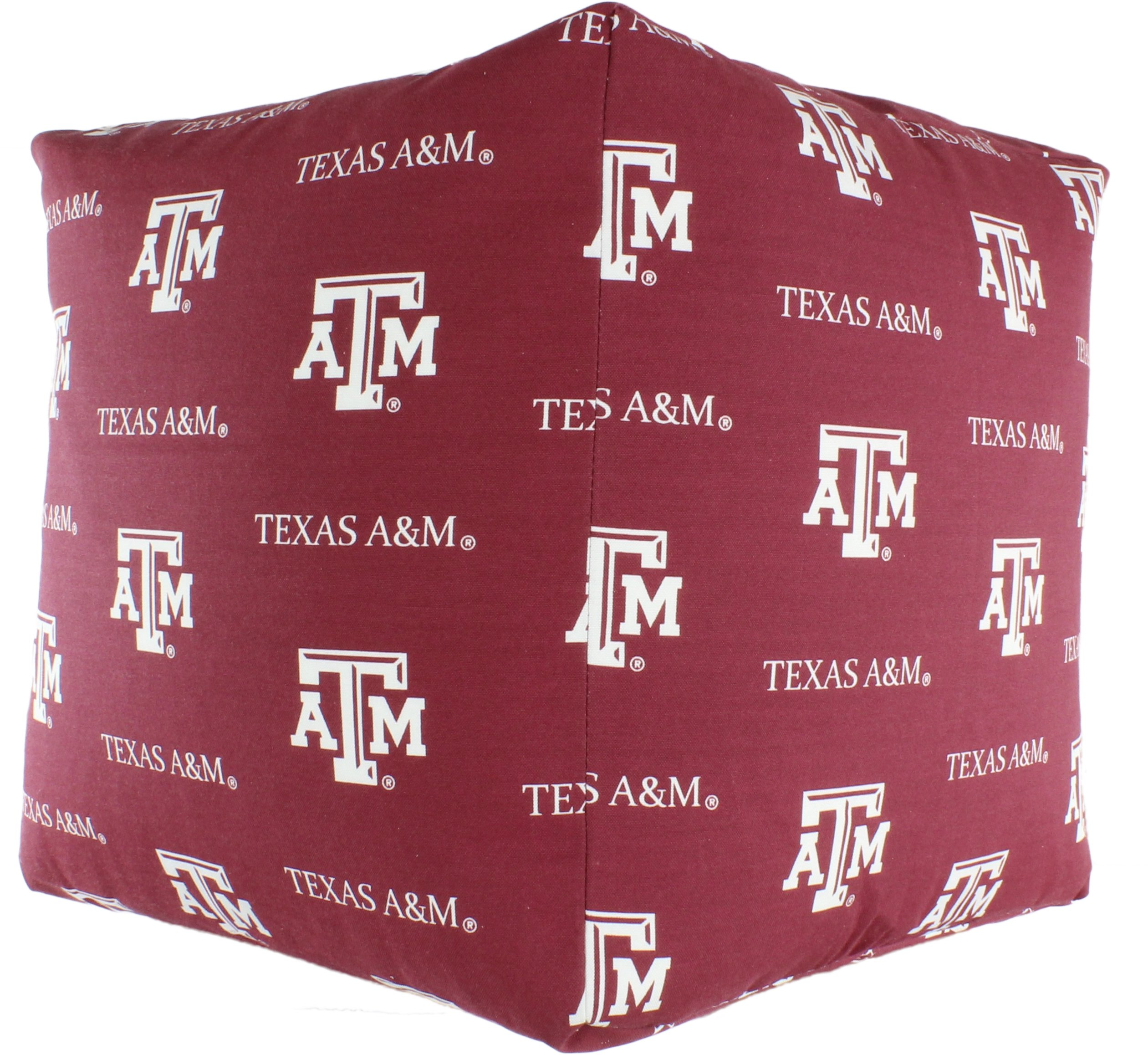 College Covers TAMCUC Texas a&M Aggies Cube Cushion Ottoman, Maroon