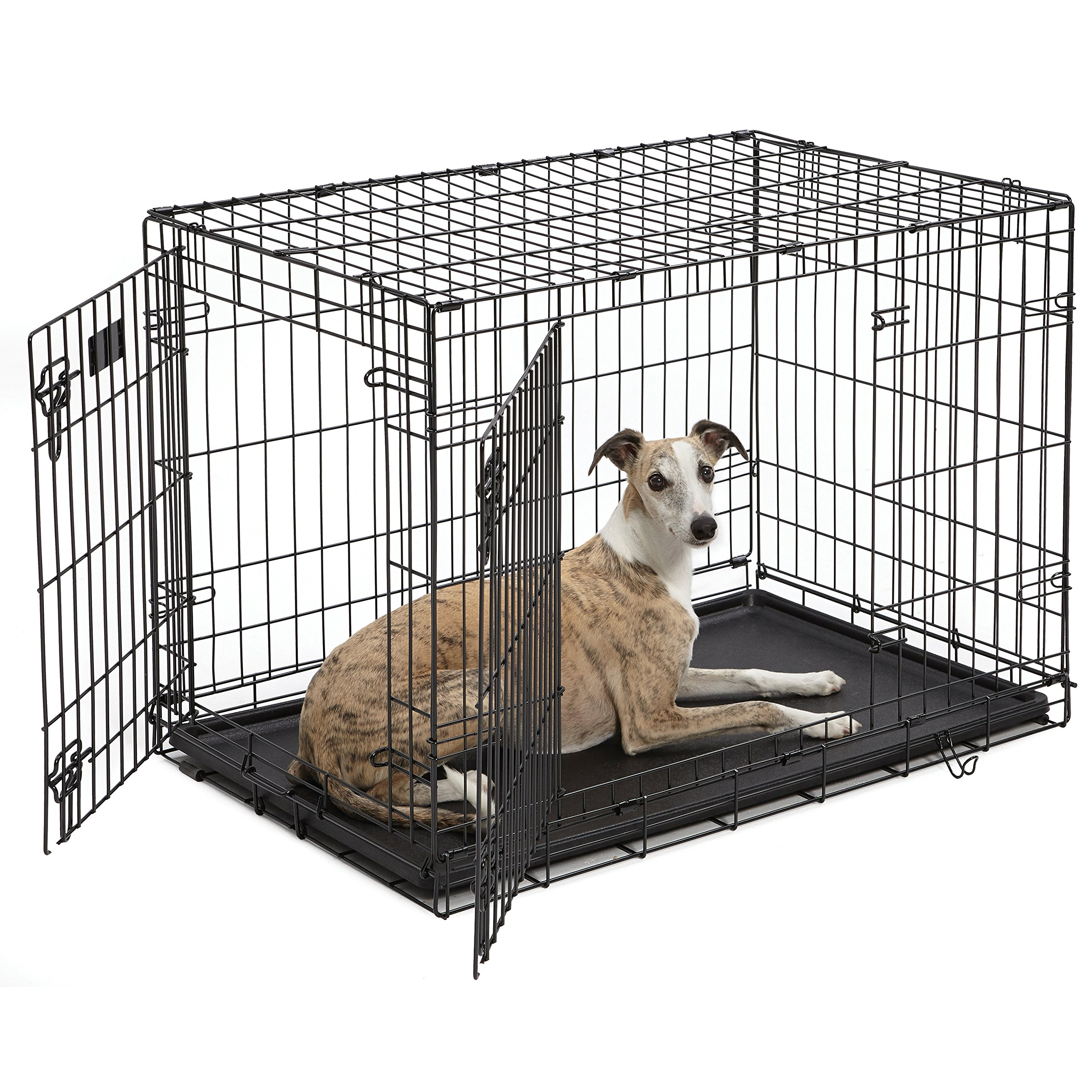 Dog Crate | MidWest iCrate 36 Inches Double Door Folding Metal Dog Crate w/ Divider Panel, Floor Protecting Feet & Leak Proof Dog Tray | Intermediate Dog Breed, Black by MidWest Homes for Pets