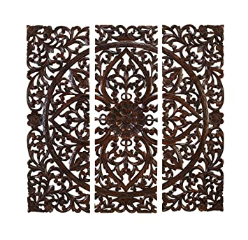 Deco 79 14255 Large Hand Carved Wood Wall Panels With Floral Acanthus Designs 24 X 71