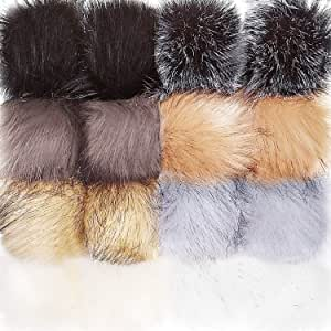 16 Pieces Faux Fur Pom Pom Ball DIY Fur Pom Poms for Hats Shoes Scarves Bag Pompoms Keychain Charms Knitting Hat Accessories