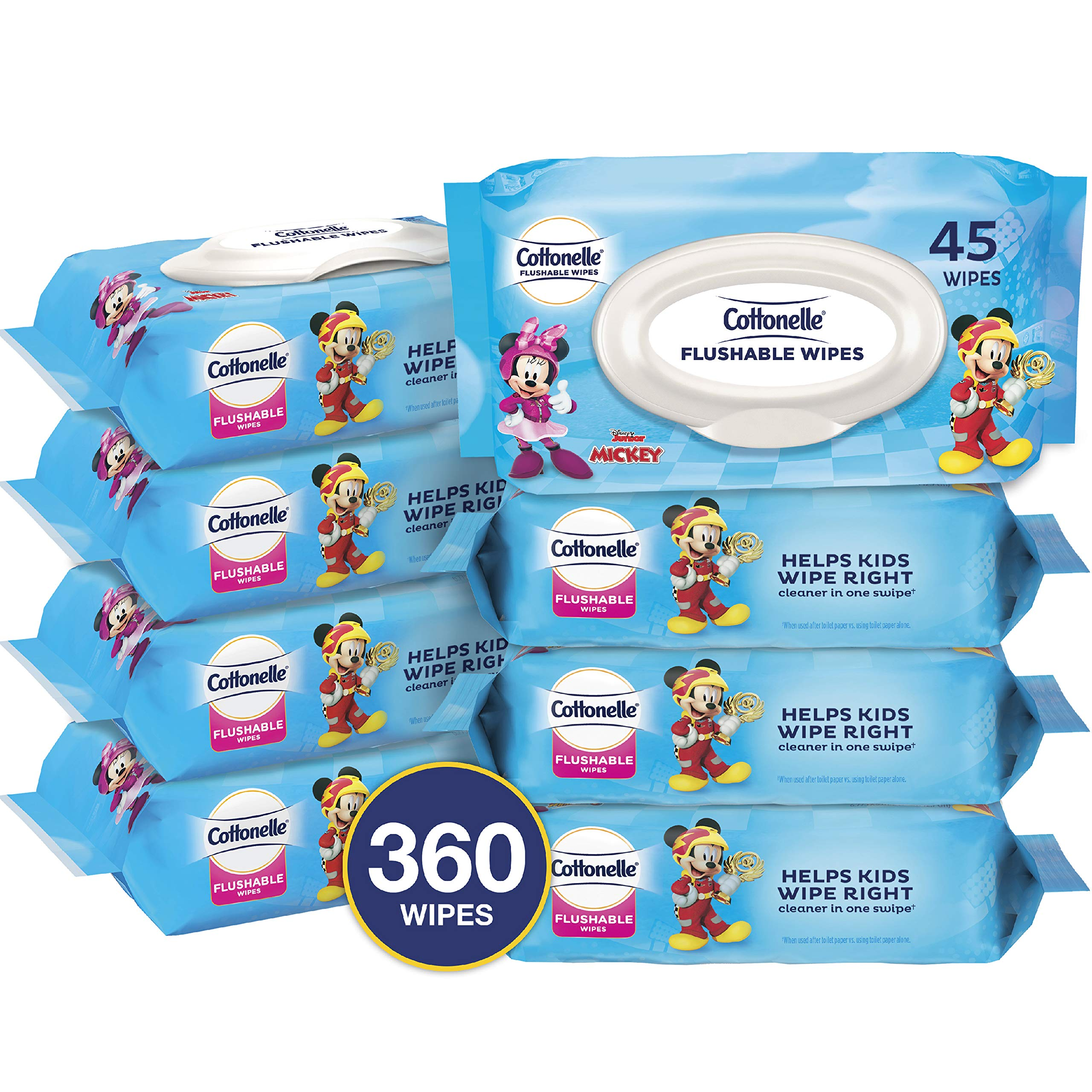 Cottonelle Flushable Toddler Wipes for Kids, 8 Flip-Top Packs, 360 Fragrance-Free Wet Wipes in Disney Packaging, Mickey Mouse by Cottonelle