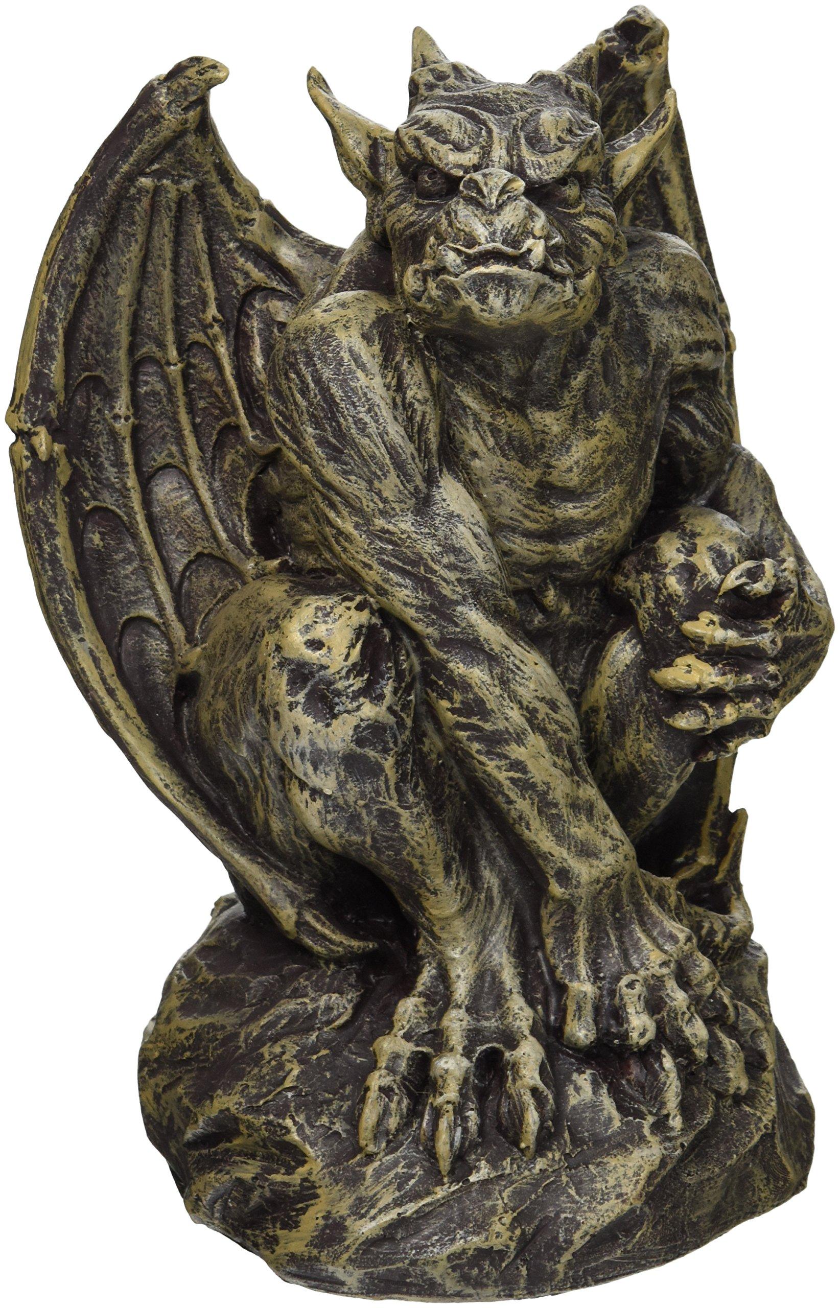 Design Toscano CL5199 Silas the Sentry Gargoyle Gothic Statue, Medium, 18 cm, Polyresin, Two Tone Stone