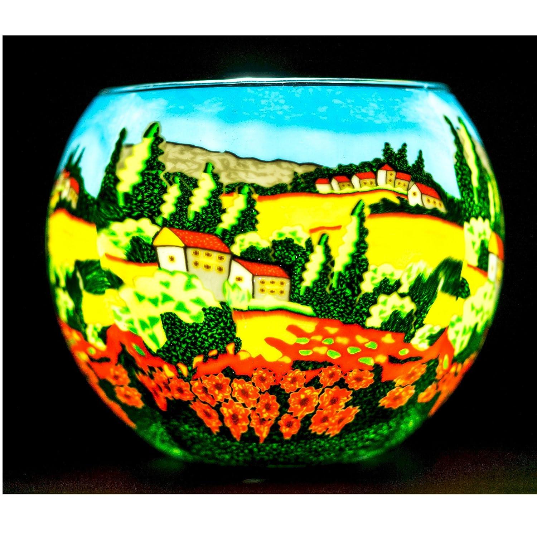 Benaya Poppy Fields Tealight Holder Milford Glass