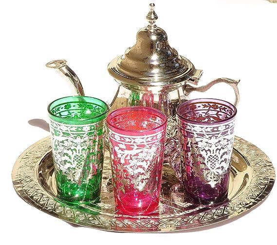 Kenta Juego de te marroquí bandeja repujada 30 cm + 3 vasos multicolores+ tetera pequeña