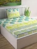 Divine Casa Sense 104 TC Cotton Single Bedsheet with Pillow Cover - Floral, Limeade and Turquoise