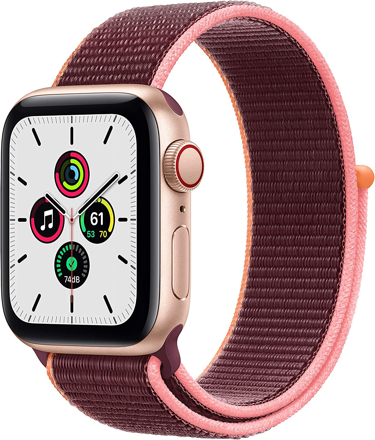 Nuevo Apple Watch SE (GPS + Cellular, 40 mm) Caja de Aluminio en Oro - Correa Loop Deportiva en Color Ciruela