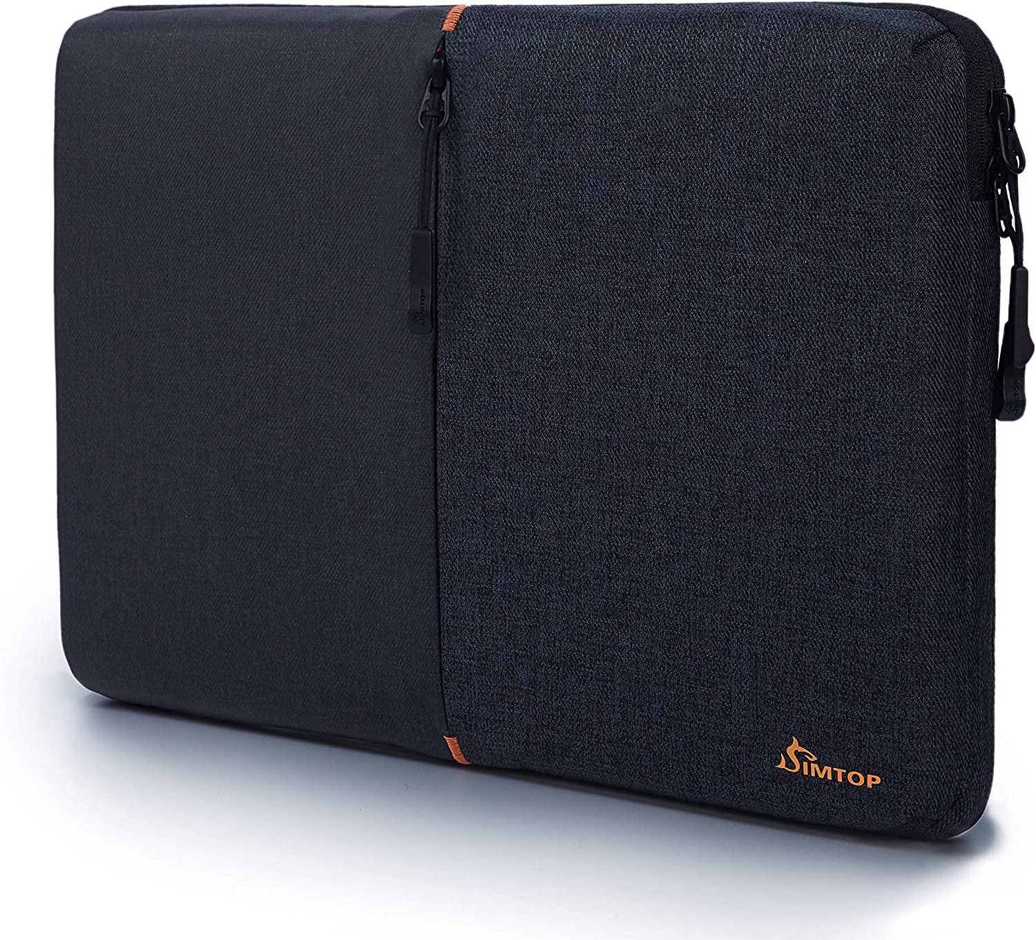 """SIMTOP 360° Protection Laptop Sleeve Case Bag Compatible with 14"""" Lenovo ThinkPad Dell HP ChromeBook, 15"""" New MacBook Pro USB-C Touch Bar A1990 A1707 (Black)"""