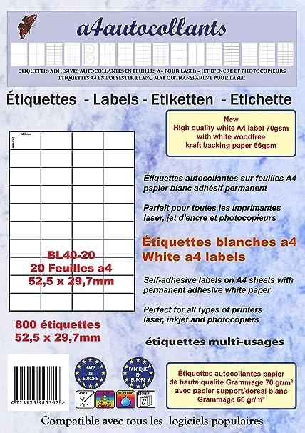 800 etiquetas autoadhesivas multiuso, 52,5 x 29,7 mm, 20 hojas A4 ...